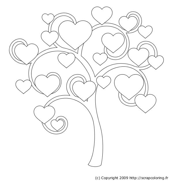Coloriage arbre à coeurs