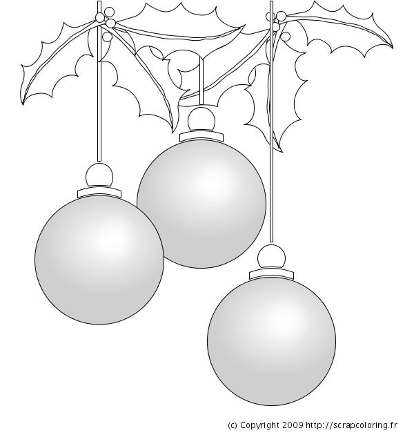 Dessin Boule De Noel.Coloriage Boules De Noël Et Houx