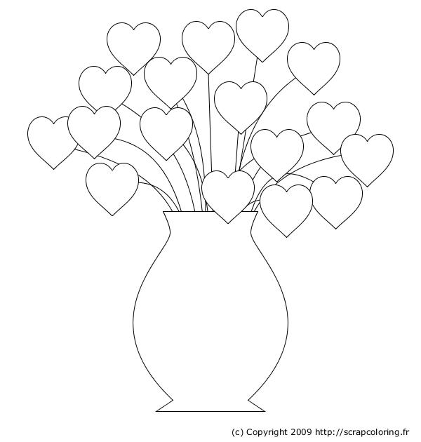 Coloriage Bouquet De Coeurs
