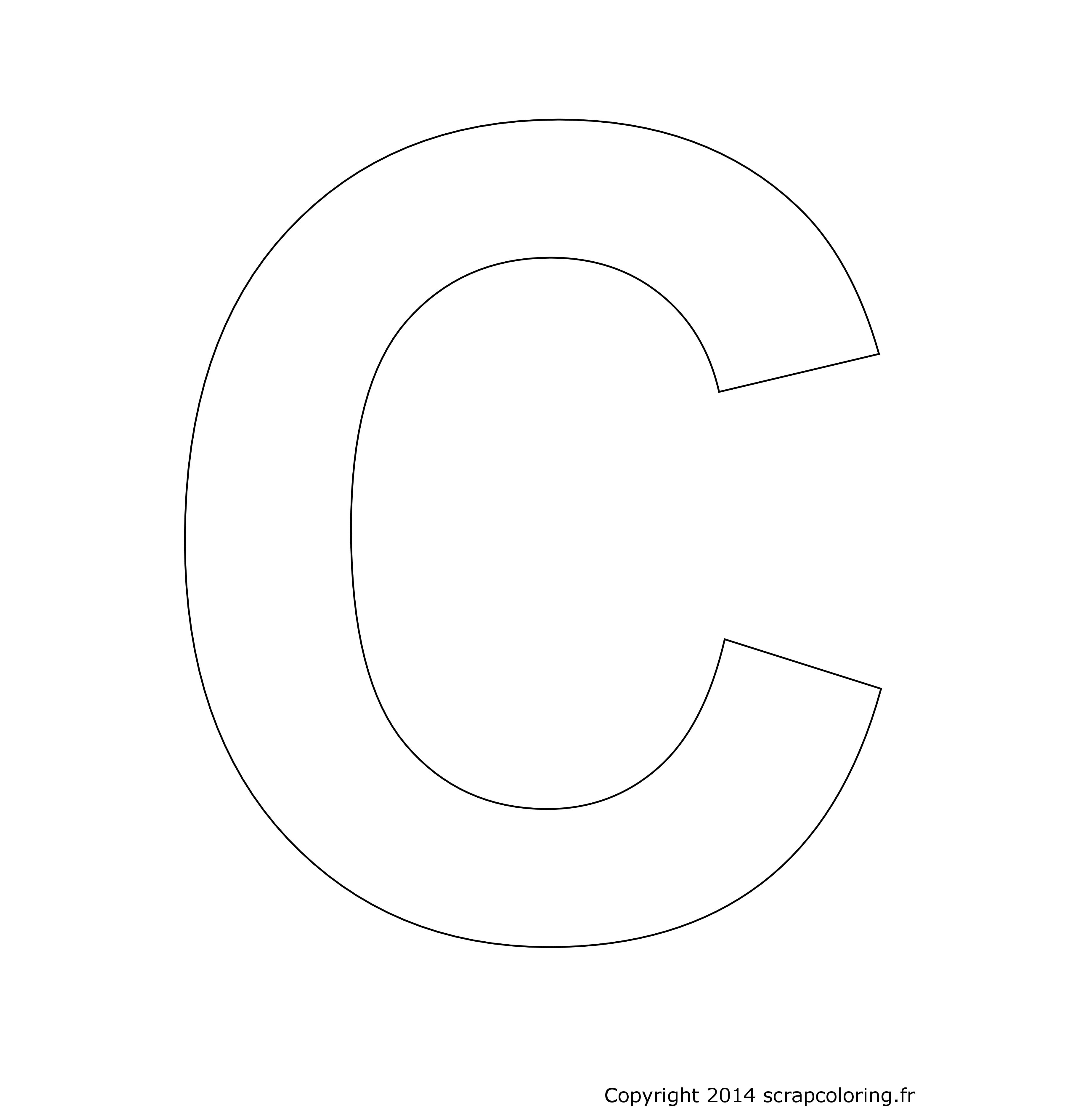 Une grande lettre C  colorier pour par exemple écrire en tr¨s grand son prénom Calogero Calvin Camille Candice Candide Clémence Clément Cloé