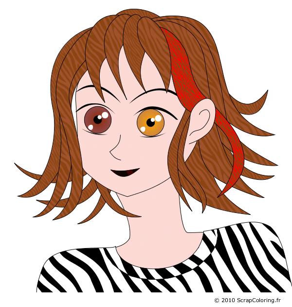 Coloriage Fille Style Manga