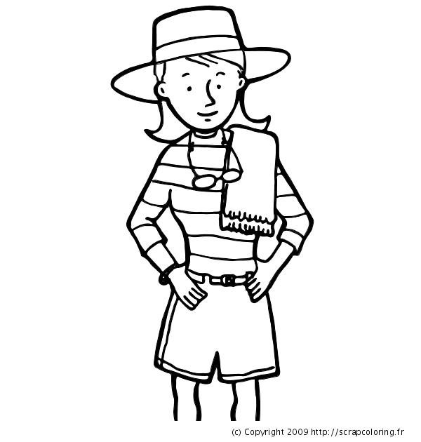 Coloriage Jeune Fille Avec Chapeau Et Serviette
