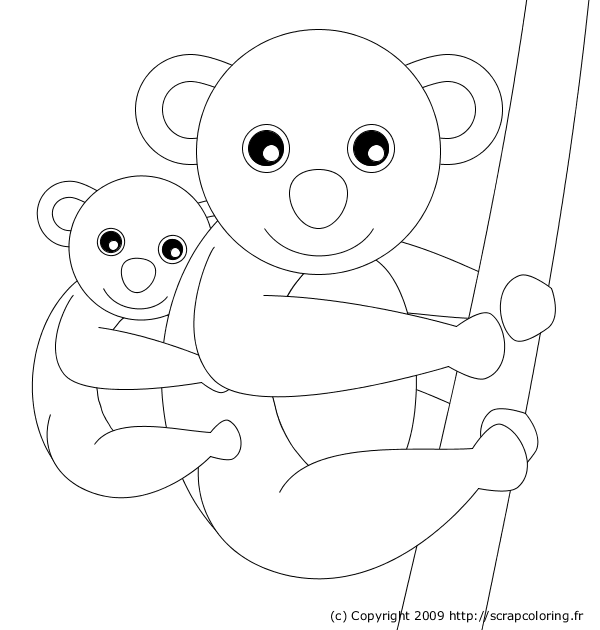 Coloriage Gratuit Koala.Coloriage Maman Et Bebe Koala