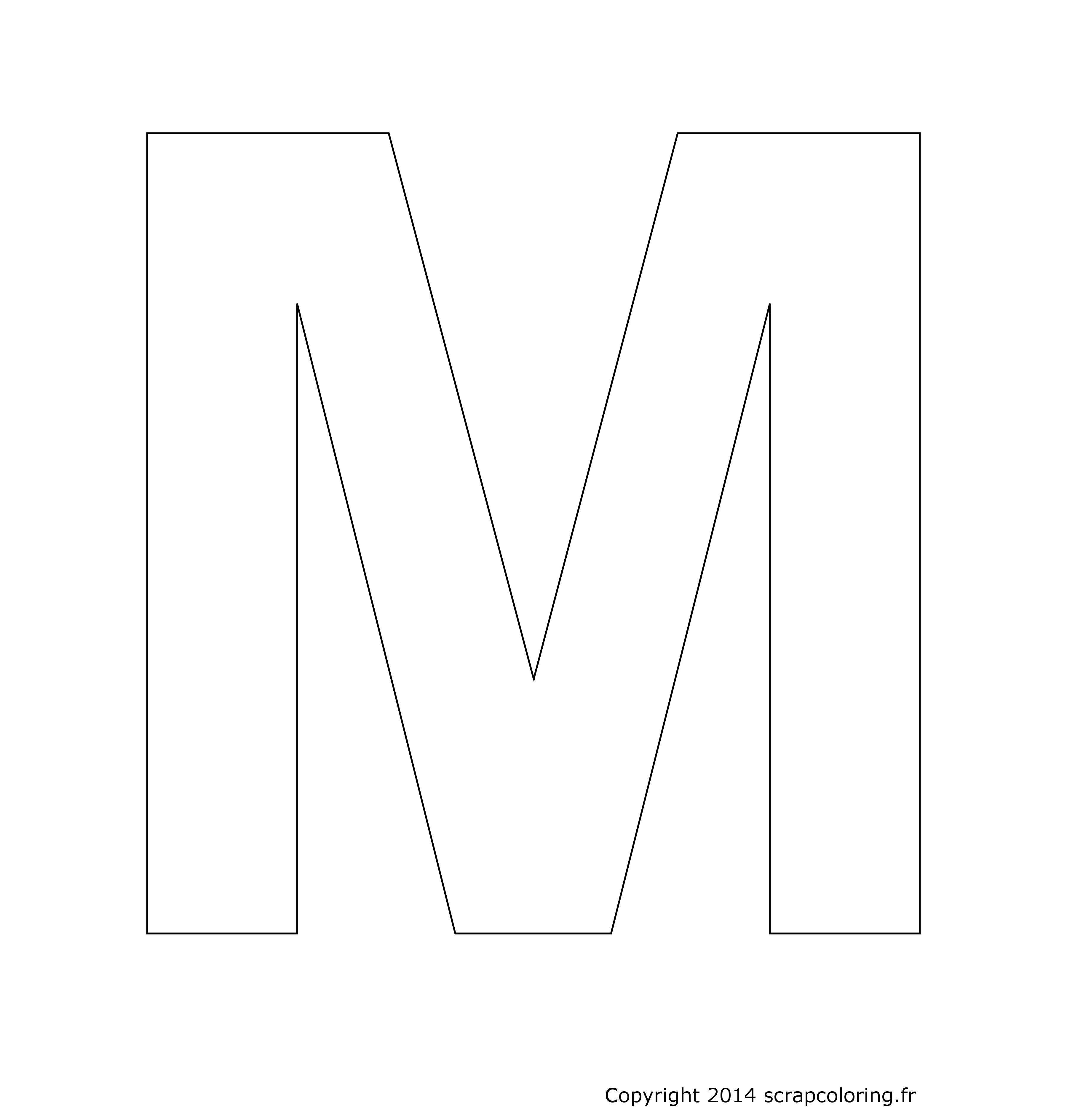 coloriage lettre m