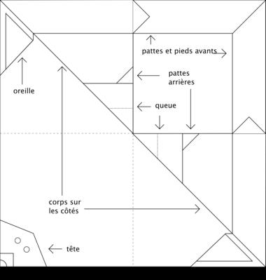 Modèle Origami Renard à colorier