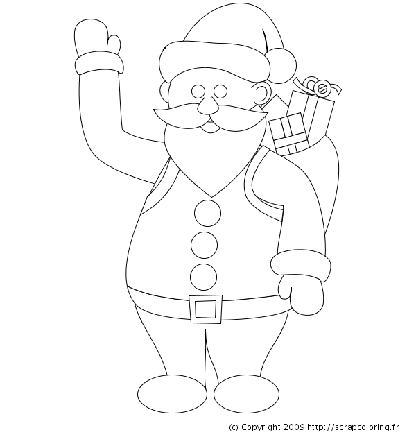 Coloriage Père Noël Et Sa Hotte De Cadeaux