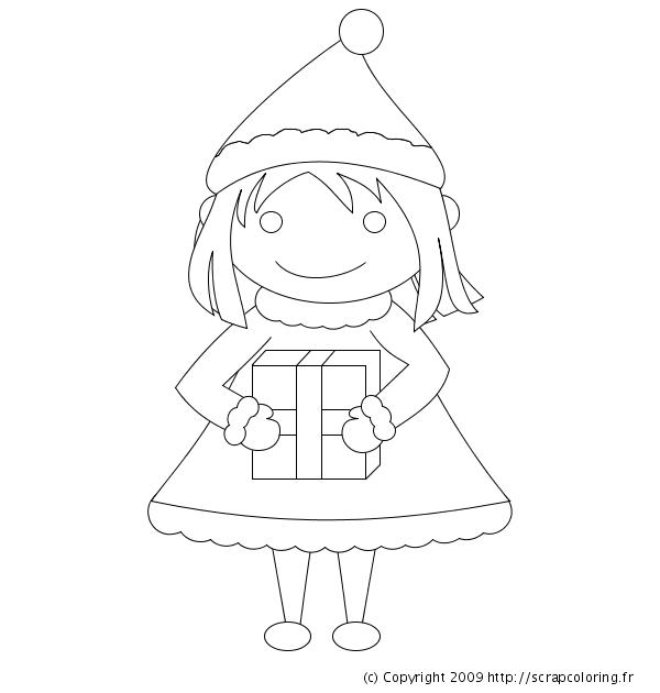 Coloriage Petite Fille De Noël