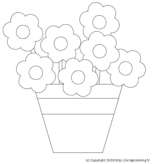 Coloriage Fleur Pot.Coloriage Pot De Fleurs