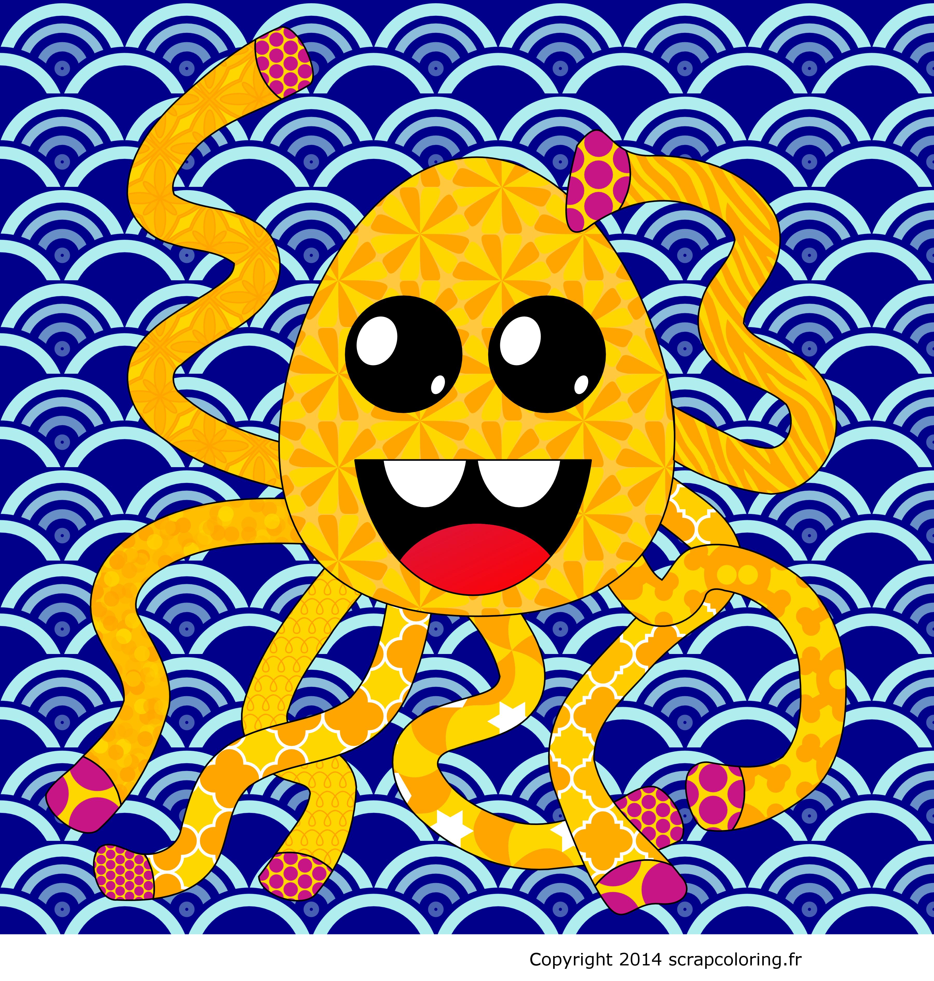 Un poulpe tr¨s joyeux qui danse dans la mer en agitant ses huit tentacules Vous aimez les poulpes les pieuvres et les octopus → plus · → Colorier le