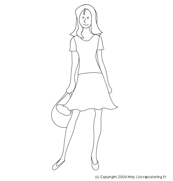 Coloriage De Fille Avec Une Robe.Coloriage Robe D Ete