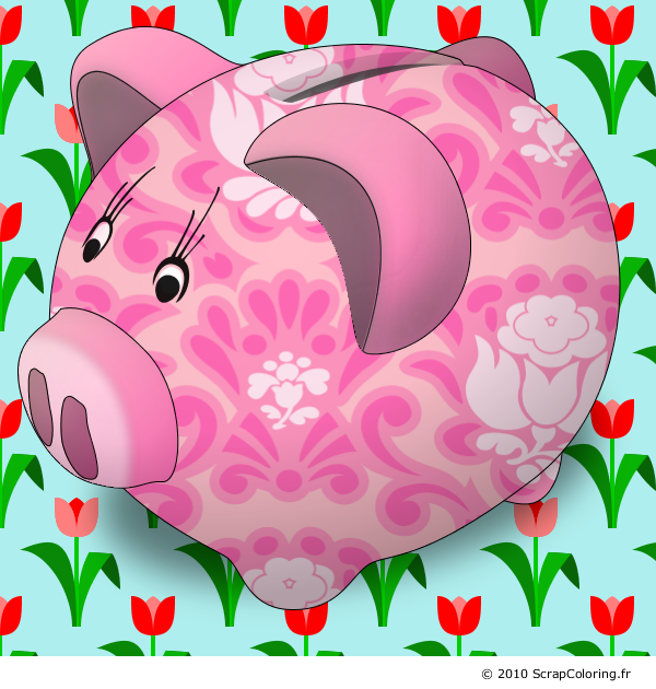 Coloriage tirelire cochon - Tirelire dessin ...