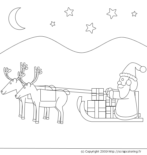 Coloriage Traineau Pere Noel Facile Bondless