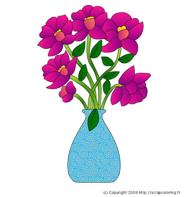 Coloriage vase de fleurs - Fleurs en dessins ...